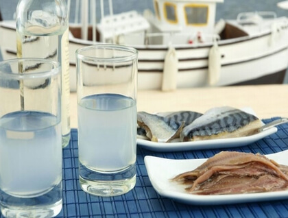 Ouzo and sardines, local products of Mytilene
